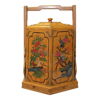 Chinese Yellow Lacquer Season Floral Graphic Stack Box Basket For Sale