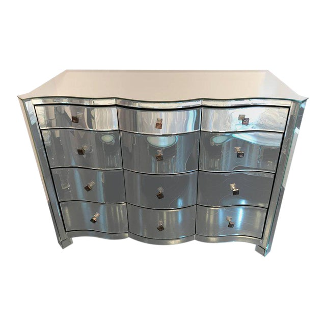 Serpentine Front Mirrored Chest of Drawers For Sale