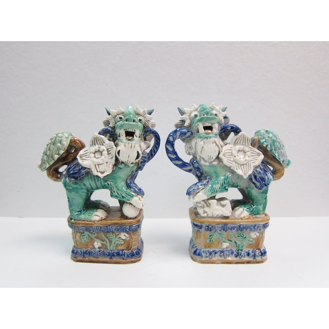 Vintage Turquoise Foo Dogs - A Pair - Image 2 of 8