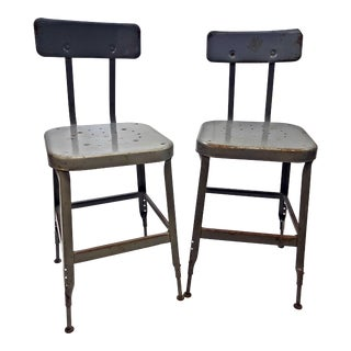 Vintage Industrial Metal Drafting Stools by Lyon - a Pair