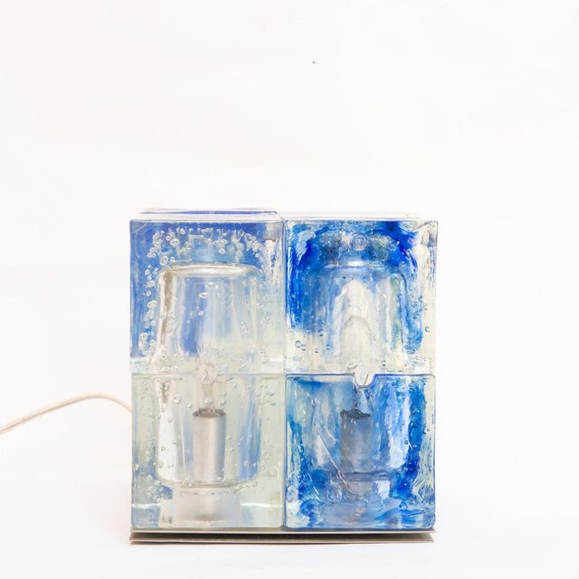 Glass cube light , blue and clear color. Made in Italy by Poliarte. Shipping to USA $395 MEASUREMENTS Height: 17cm...