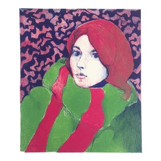 "Georgiana Kettler Vintage 1967 Mid Century Modern "" Self Portrait "" Original Signed Fine Art Monoprint For Sale"