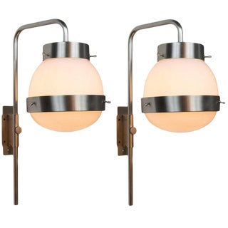 1960s Sergio Mazza 'Delta' Wall Lights for Artemide - a Pair For Sale