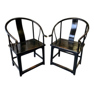 Vintage Mid Century Black Lacquered Horse Shoe Chairs- A Pair For Sale