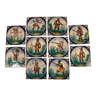 Spanish Hand Painted Tiles - Set of 10