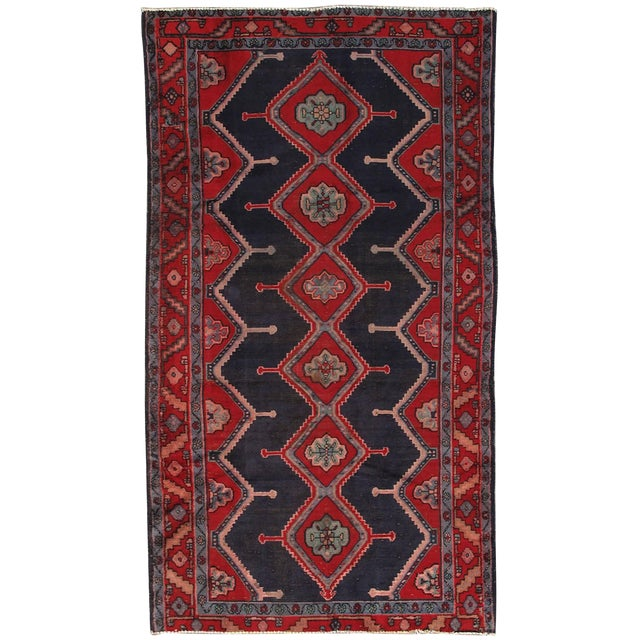 "Vintage Hamadan Wool Area Rug - 4'9"" X 8'9"" - Image 1 of 3"