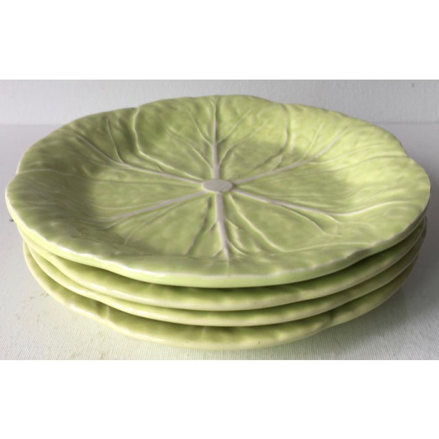 1990s Bordallo Pinheiro Cabbage Leaf Majolica Plates-Set 4 For Sale - Image 5 of 10