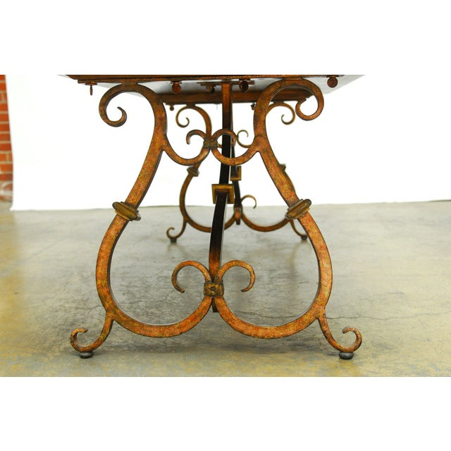 Spanish Colonial Trestle Table With Wrought Iron - Image 5 of 10