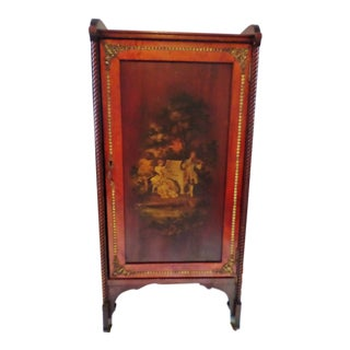 Antique French Hand-Painted Sheet Music Cabinet With Bronze Mounts For Sale