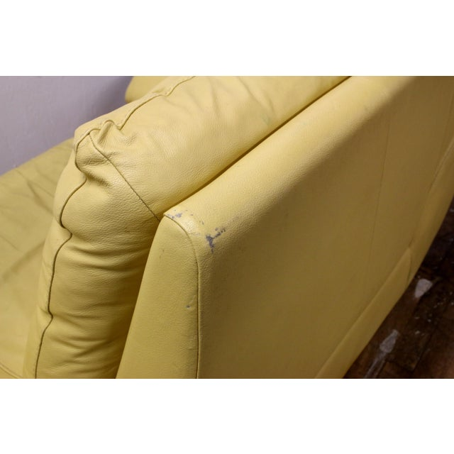 Canary Yellow Vintage Mid-Century Modern Nicoletti Italian Leather Canary Yellow Low Daybed For Sale - Image 8 of 12
