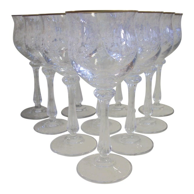 Mikasa Gold Rim and Brocade Etching Crystal Wine Goblets - Set of 10 For Sale