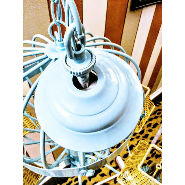 Rare Italian Reggiani Lampadari Pale Blue High Gloss 6 Light Hot Air Balloon Chandelier Light Fixture For Sale In West Palm - Image 6 of 8