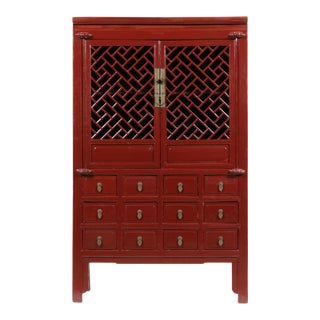 19th-C. Ming Style Chinese Lattice Cabinet For Sale