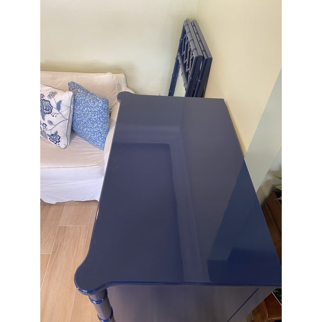 Palm Beach Chic Faux Bamboo Tall Dresser Lacquered in Navy Blue With Gold Handles For Sale - Image 4 of 11