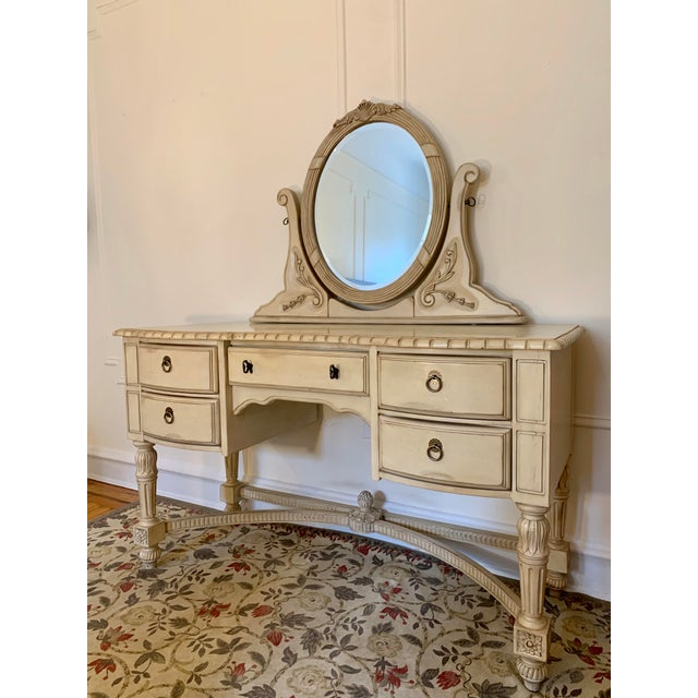 Laura Ashley for Kincaid Furniture French Provincial Style Vanity With Mirror For Sale - Image 10 of 10