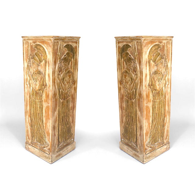 Palladio Large 1940s Italian Neoclassical Style Pedestals Attributed to Palladio - a Pair For Sale - Image 4 of 4