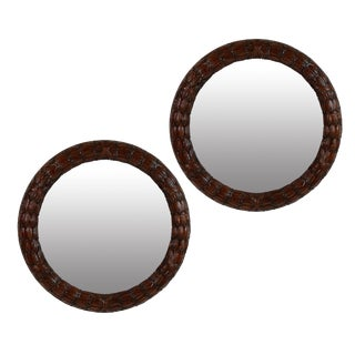 A Pair of Fine Circular Mahogany Laurel Mirrors For Sale