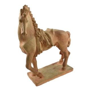 French J. De Monpesat 1940s Figural Terracotta Sculpture of Horse For Sale