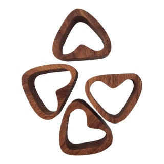 Mid-Century Heart Shape Danish Teak Wood Napkin Rings - Set of 4