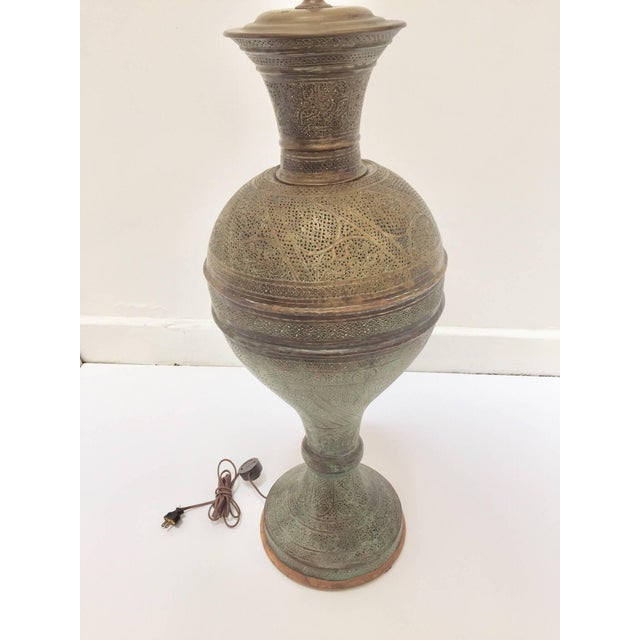 Early 20th Century Antique 19th Century Middle Eastern Persian Oriental Brass Floor Lamp For Sale - Image 5 of 13