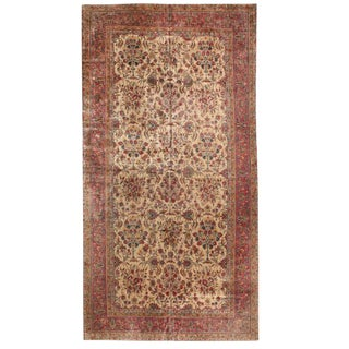 Antique Oversize Kashan Carpet For Sale