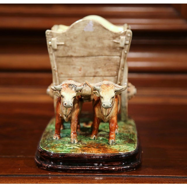 19th Century French Hand-Painted Barbotine Jardinière, Signed D. Massier For Sale In Dallas - Image 6 of 11