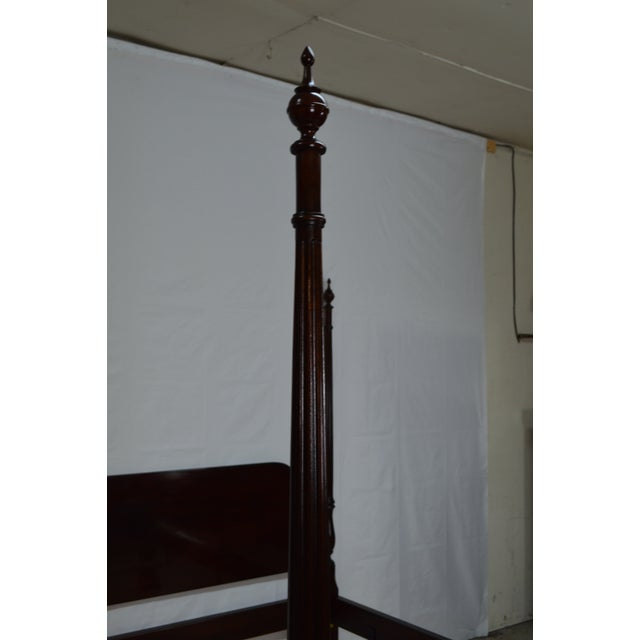 Late 20th Century 20th Century Traditional Stickley Solid Mahogany Queen Poster Bedframe For Sale - Image 5 of 12