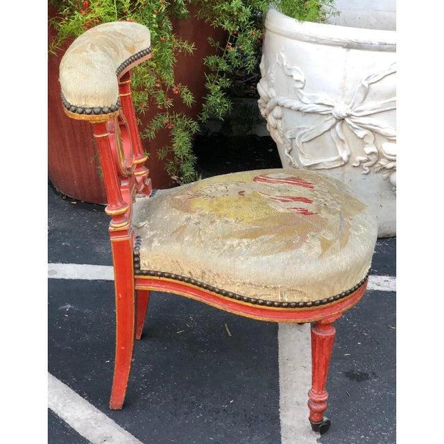 Superb Antique Vatican Red Prie-Dieu Petit Point Chair