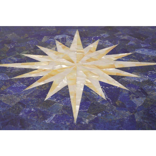 Mother of Pearl Compass Rose and Lapis Lazuli Pietra Dura Cafe Table For Sale - Image 4 of 7