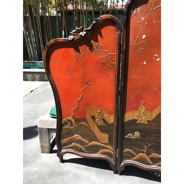 Victorian Art Nouveau 3-Panel Screen For Sale In Los Angeles - Image 6 of 12