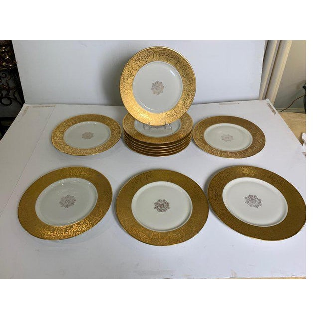 Wide Gold Bordered Service Plates - Set of 12 For Sale - Image 11 of 12