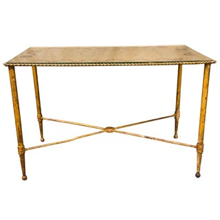 Bronze Based Gilt Glass Top Coffee Table For Sale