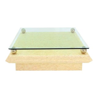 Mid-Century Modern Glass Top Horn Tile Square Coffee Table For Sale