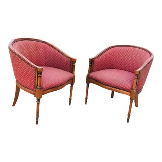 Pair of Faux Bamboo-Form Satinwood Inlaid Regency Style Mahogany Armchairs