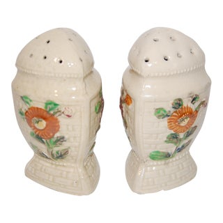 Vintage Majolica Salt & Pepper Shakers - A Pair