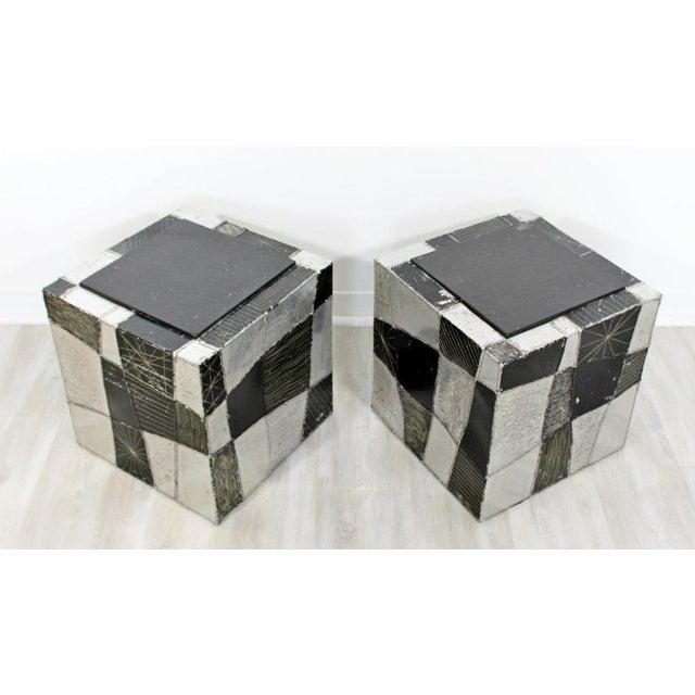 Paul Evans Mid-Century Modern Pair of Paul Evans Argente Cube Chrome Slate Side End Tables For Sale - Image 4 of 8