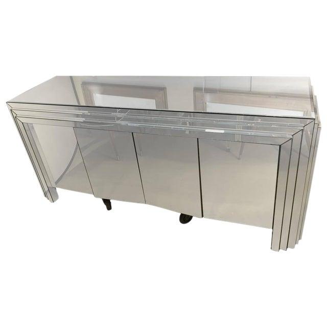 Hollywood Regency 4-Door Mirrored Side Board or Dresser For Sale