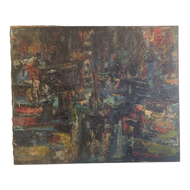 "1960s Vintage Joo-Yon Ohm Ceerderberg ""Midnight Fire"" Large Abstract Painting For Sale"
