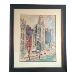 1960s Modernist Abstract Cityscape Oil Painting, Framed For Sale