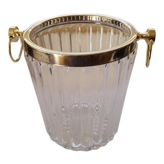 Hollywood Regency Vintage Crystal and Brass Champagne Bucket For Sale