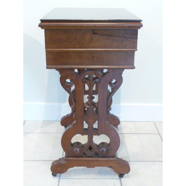 Animal Skin 1860's Victorian Walnut Lift Top Writing Desk For Sale - Image 7 of 10