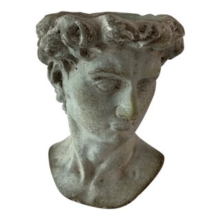 Modern Cast Composite Concrete Stone Face Planter Head Vessel Vase For Sale