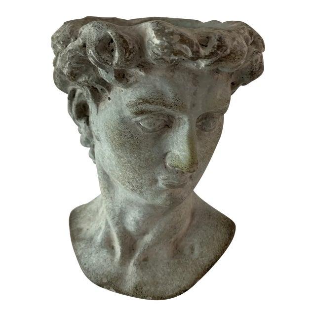 Modern Cast Composite Concrete Stone Face Planter Head Vessel Vase For Sale