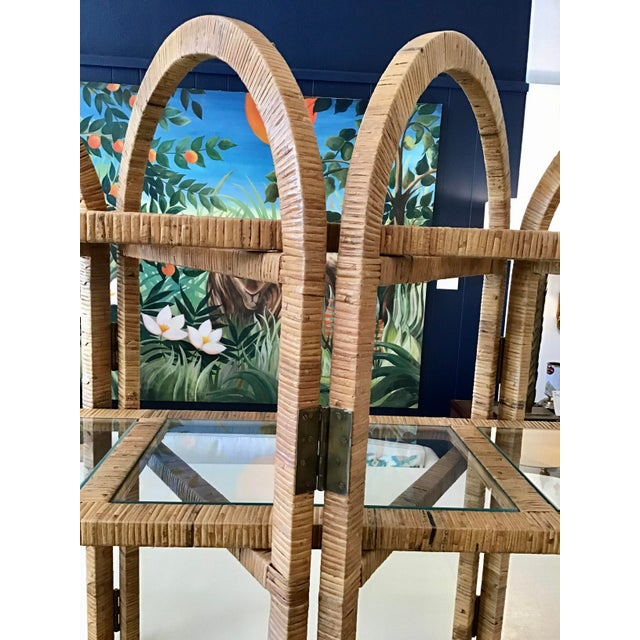 Tan Bielecky Brothers Rattan Arch Top Etagere For Sale - Image 8 of 12