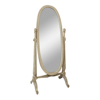 19th Century French Louis XVI Painted Cheval Mirror For Sale