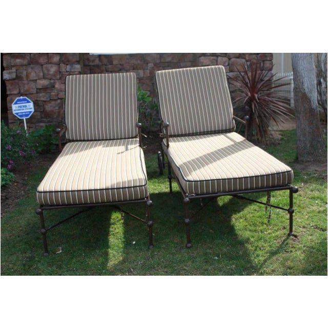 A pair of lovely outdoor chaise lounge chairs with deluxe custom Sunbrella cushions. Inspired by Beverly Hills Hotel...