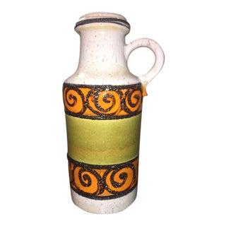 1960's West German Orange Green Pottery Vase For Sale