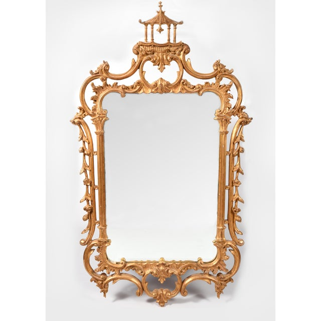 Early 20th Century Chippendale Carved Wood Beveled Hanging Wall Mirror For Sale - Image 10 of 11