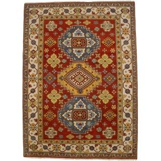 Red Geometric 9x12 Kazak Oriental Rug For Sale