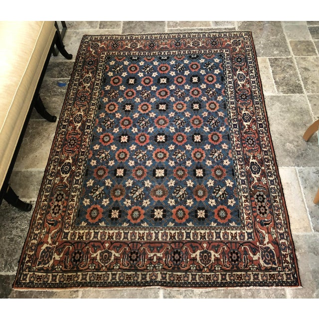 Antique Veramin Persian Wool Rug For Sale - Image 4 of 5
